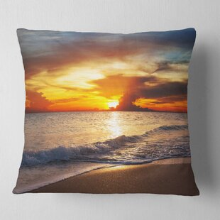 Yellow Sunset over Gloomy Beach Beach Pillow