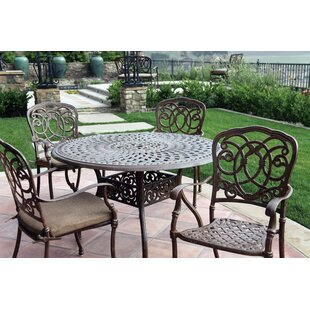 Astoria Grand Dolby 5 Piece Metal Frame Dining Set with Cushions