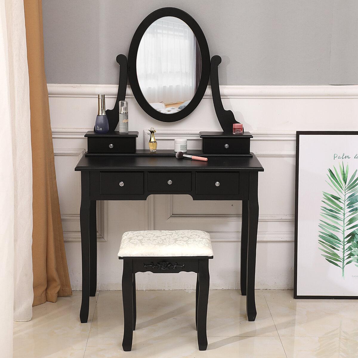 Rosdorf Park Estelle Vanity Set With Stool And Mirror Reviews Wayfair