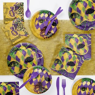 Masks of Mardi Gras Paper/Plastic Disposable Party Supplies Kit