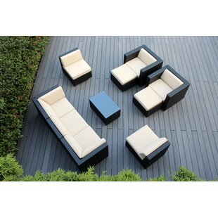 Kiara 10 Piece Rattan Sectional Seating Group with Cushions