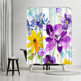 Harrison Ripley Floral Shimmer Shower Curtain by East Urban Home