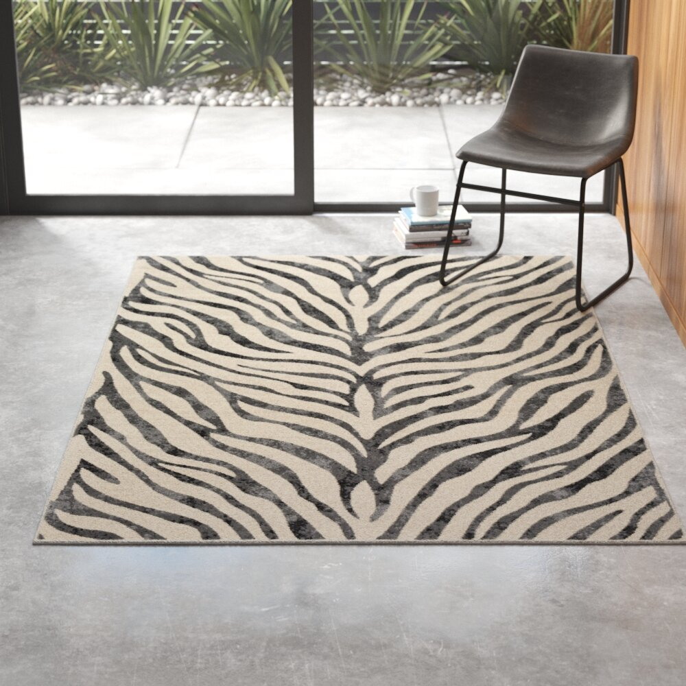 Aine Distressed Animal Print Taupe Light Gray Area Rug