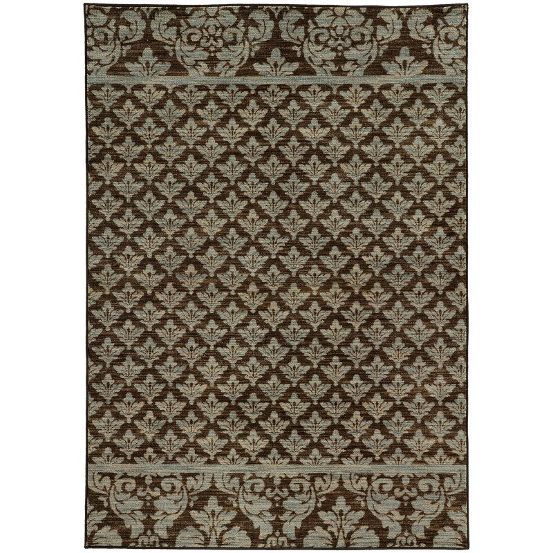 Alcott Hill Alicia Floral Brown/Blue Area Rug, Size: Rectangle 710 x 1010