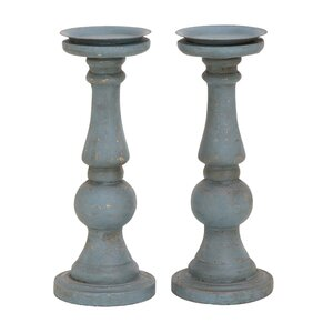 Polyurethane and Metal Candlestick (Set of 2)