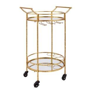 House of Hampton Round Metal Bar Cart