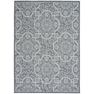 Presswood Geometric Slate Gray Indoor/Outdoor Area Rug