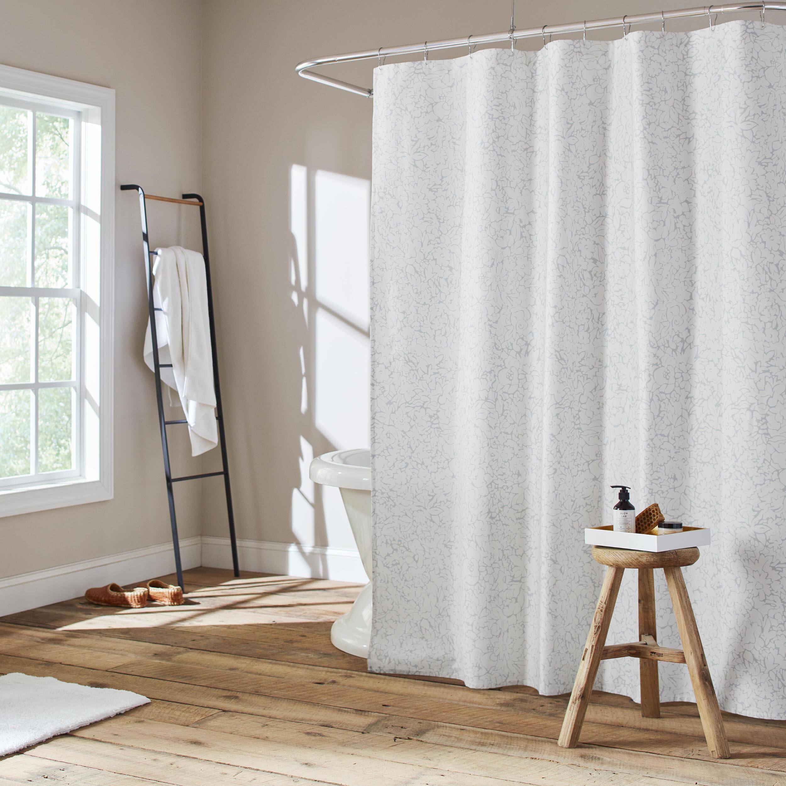 Floral Maze 100 Cotton Floral Single Shower Curtain Hooks
