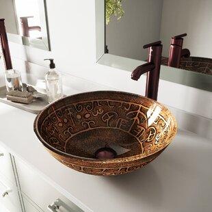 Golden Greek Glass Circular Vessel Bathroom Sink with Faucet
