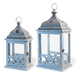 Highland Dunes Light In The Attic 2 Piece Wood Lantern Set