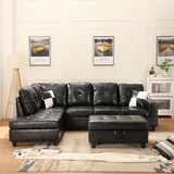 Cherno 103.5'' Faux Leather Reversible Sofa & Chaise with Ottoman by Latitude Run®