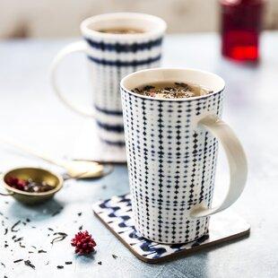 4 Piece Shibori Coffee Mug Set