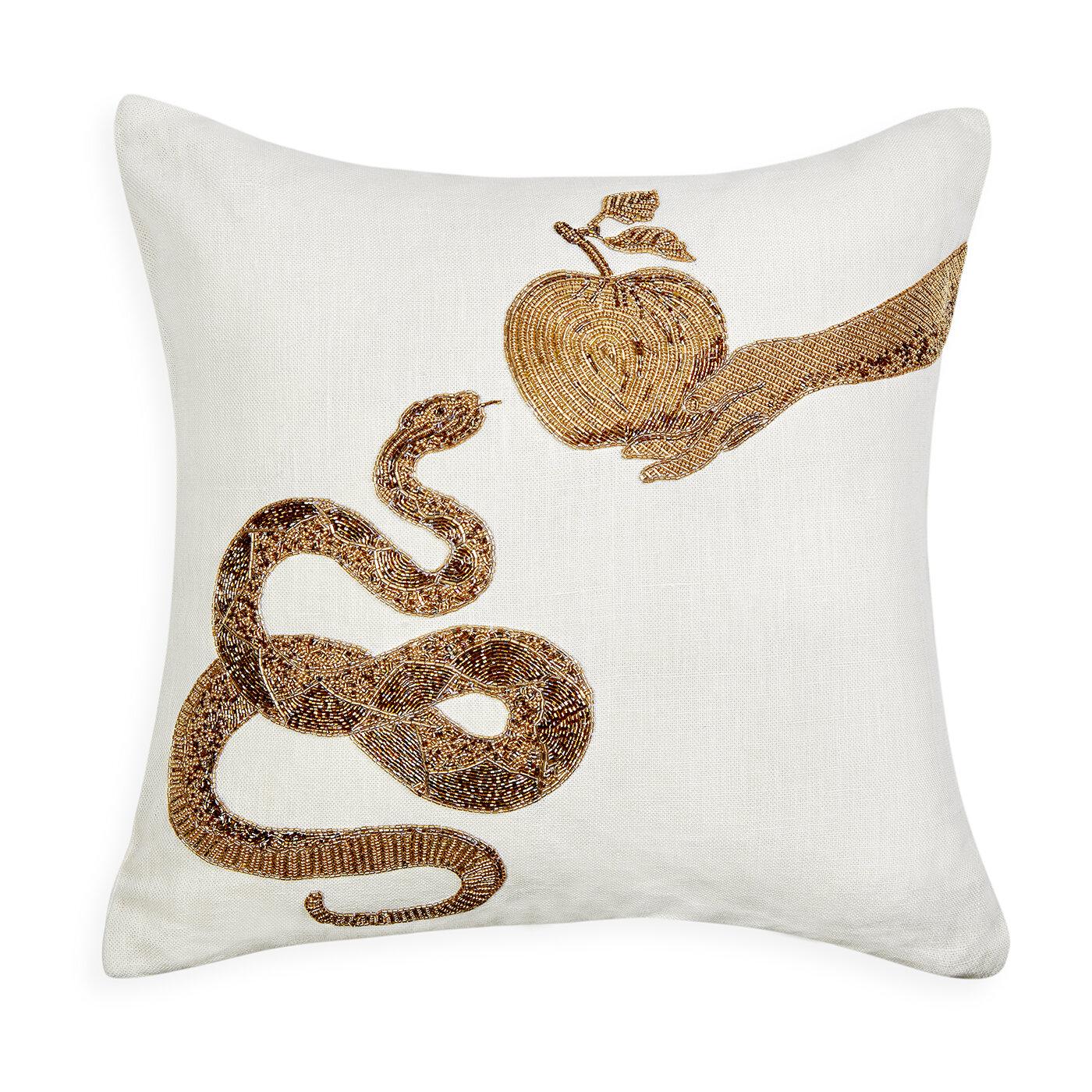 Jonathan Adler Muse Snake And Apple Linen Throw Pillow Wayfair