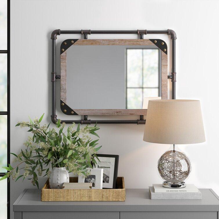 Three Posts Liv Industrial Beveled Distressed Bathroom Vanity Mirror Reviews Wayfair