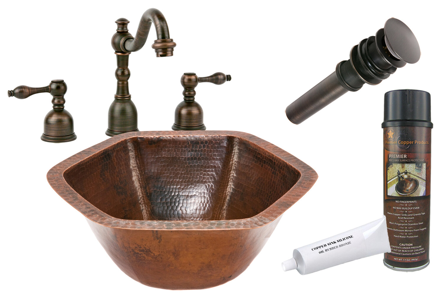 Premier Copper Products Hammered Specialty Metal Specialty Undermount Bathroom Sink With Faucet Wayfair