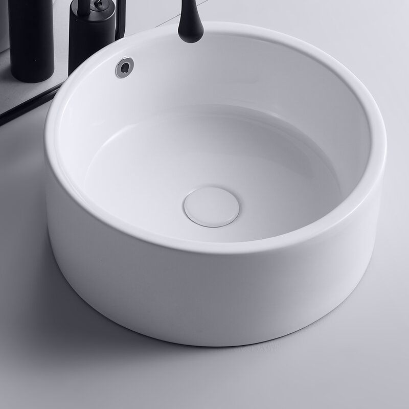 Foobrues Glossy White Ceramic Circular Vessel Bathroom Sink With Overflow Wayfair