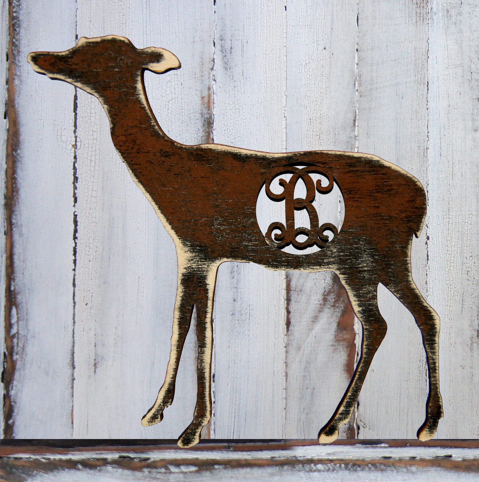 Amonogramartunlimited Fawn Decorated Vintage Rustic Wooden Shape Wall Décor Wayfair