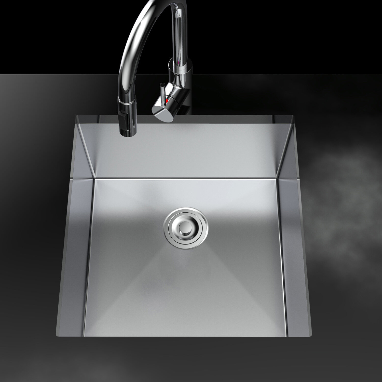 Vr Suppliers 17 L X 18 W Undermount Kitchen Sink With Basket Strainer Wayfair