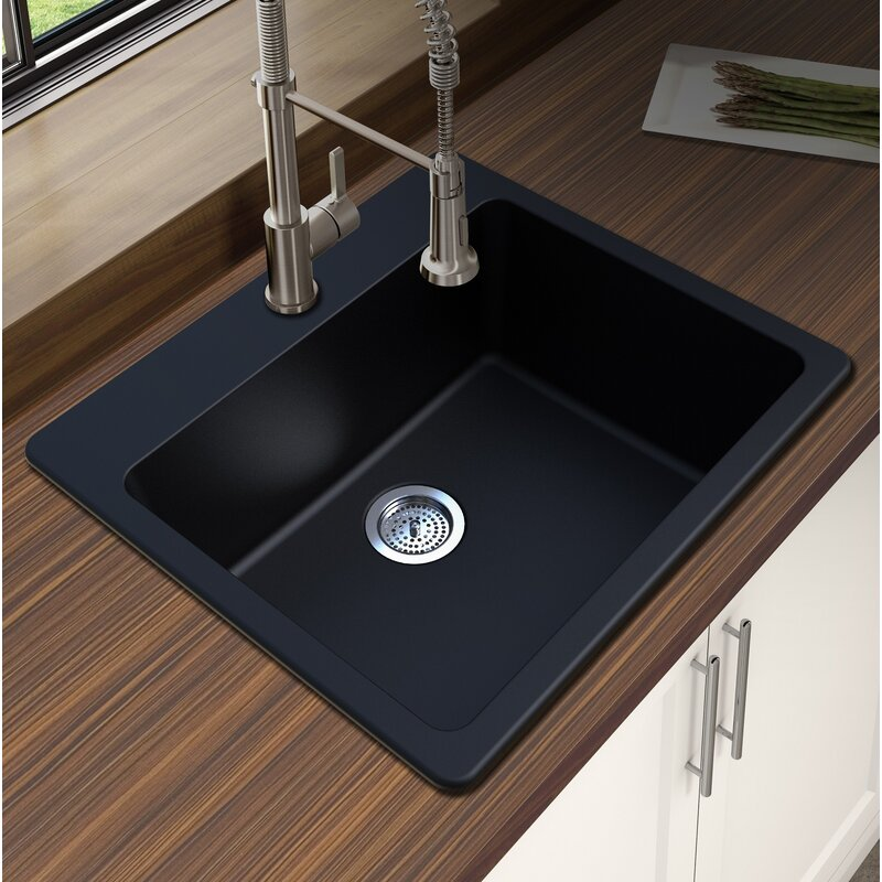 granite quartz 25 l x 22 w single bowl drop in kitchen sink - Drop In Kitchen Sink