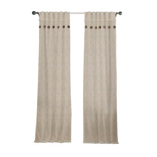 Button Linen Solid Semi Sheer Rod Pocket Curtain Panels (Set Of 2)
