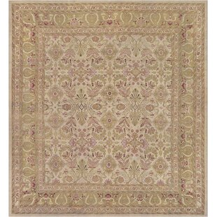 One-of-a-Kind Antique Agra Handwoven Wool Beige Area Rug by Mansour