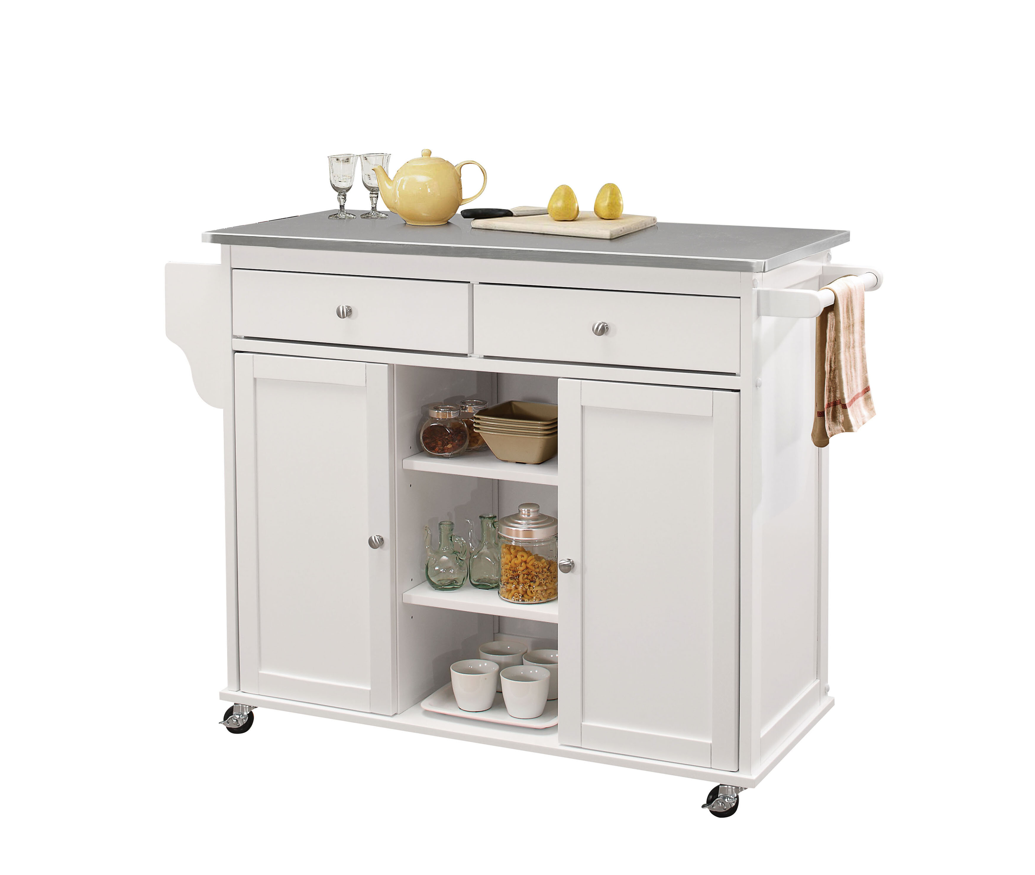 Charlton Home Hovland Kitchen Cart With Stainless Steel Top Wayfair