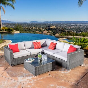 Brayden Studio Strawn 6 Piece Rattan Sectional Set with Cushions
