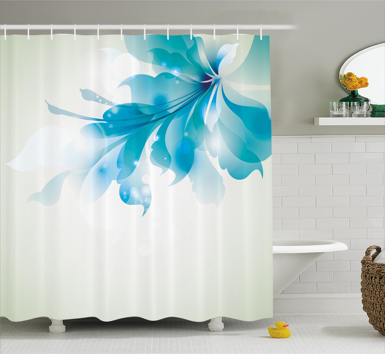 Ebern Designs Celestiel Blue Ombre Flowers Shower Curtain Reviews