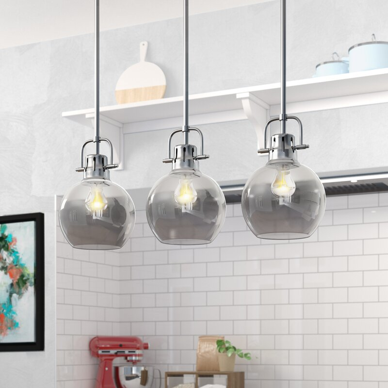 Brayden Studio Josephus 3 Light Kitchen Island Linear Pendant Reviews Wayfair