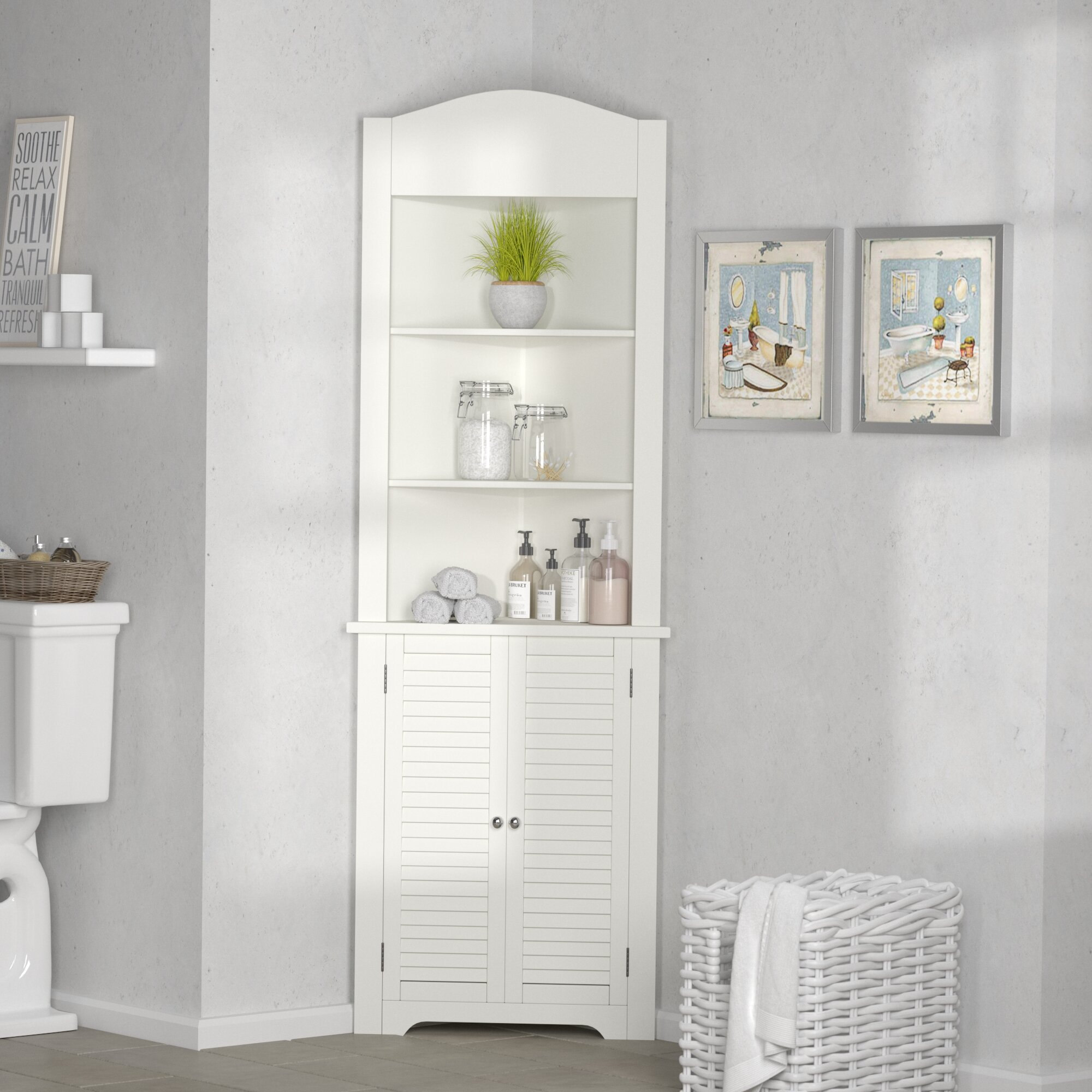 Greensen Bathroom Cabinet Corner Shelf Waterproof Bathroom Cabinet Free Standing Side Cabinet Cupboard Storage Unit With Shutter Door For Bathroom Kitchen Living Room Office White 39 5 X 28 X 80 Cm Bathroom