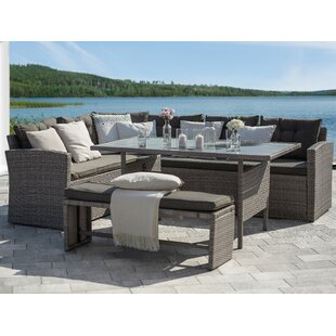 Binne 3-Piece Rattan Sectional Seating Group with Cushions by Latitude Run