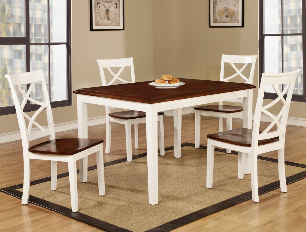 roundhill furniture baum two tone solid wood 5 piece dining set 5 piece kitchen dining room sets sku rdhn1418 default name