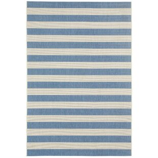 Palm Cove Blueberry Striped Indoor/Outdoor Area Rug