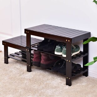 Top Reviews 2 -Tier Bamboo Shoe Storage Bench By Millwood Pines