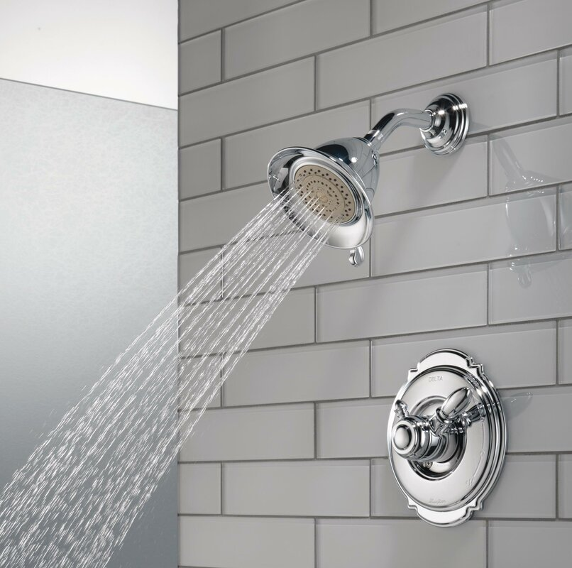shower faucet. Victorian Pressure Balanced Diverter Shower Faucet Trim with Lever Handles  and H2okinetic Technology Delta