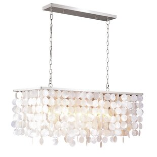 Beachcrest Home Navua Capiz Shell Rectangular 5-Light Kitchen Island Pendant