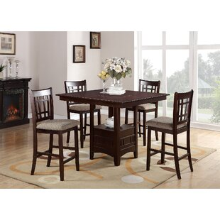 Doster 5 Piece Counter Height Solid Wood Dining Set