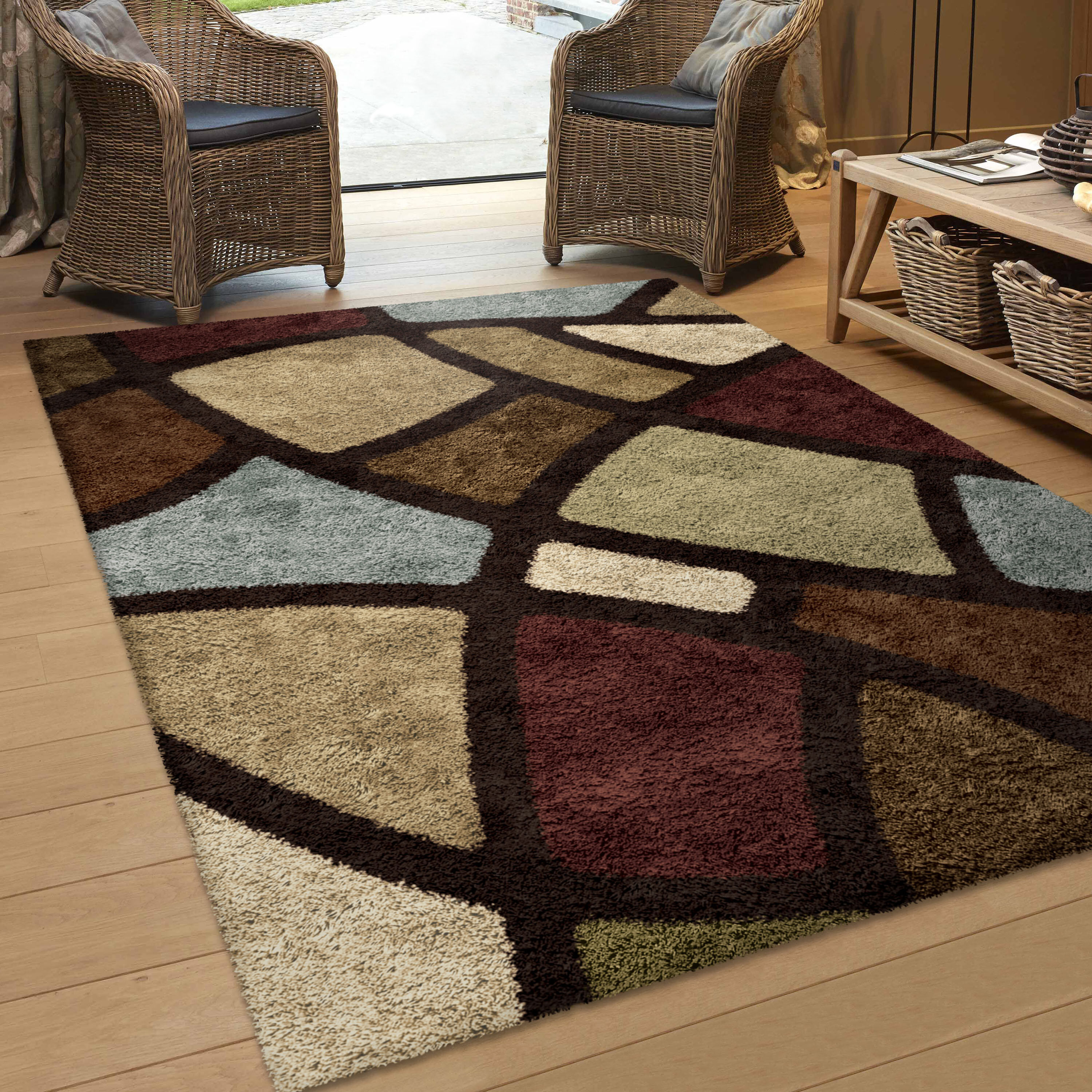 Picture of: Threadbind Osgood Brown Beige Tan Red Green Blue Area Rug Reviews