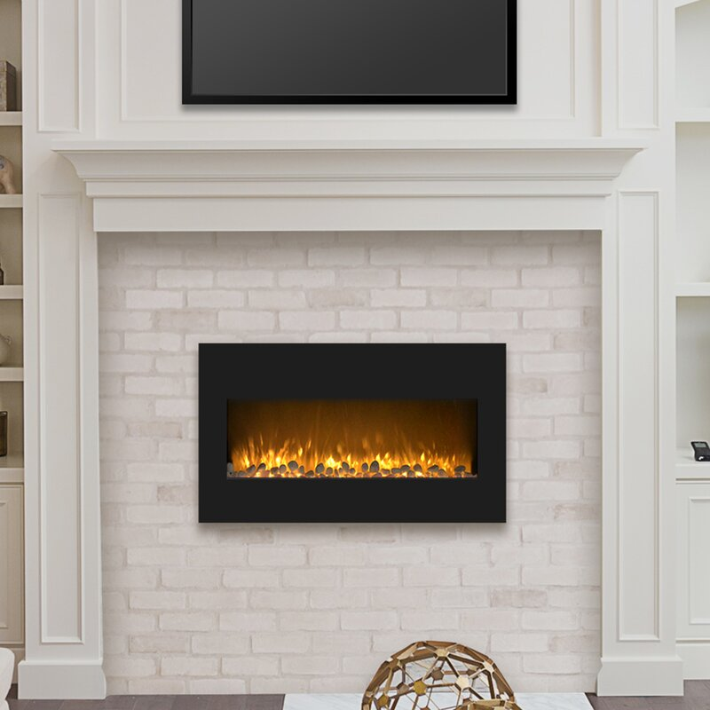 Orren Ellis Rawlings Flat Wall Mounted Electric Fireplace Reviews Wayfair