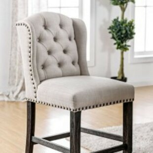 Duley Counter Height Wingback Upholstered Dining Chair (Set of 2)