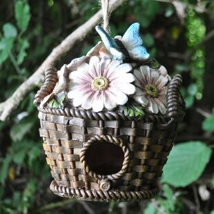 Wicker Flower Basket Hanging Bird House By Happy Larry