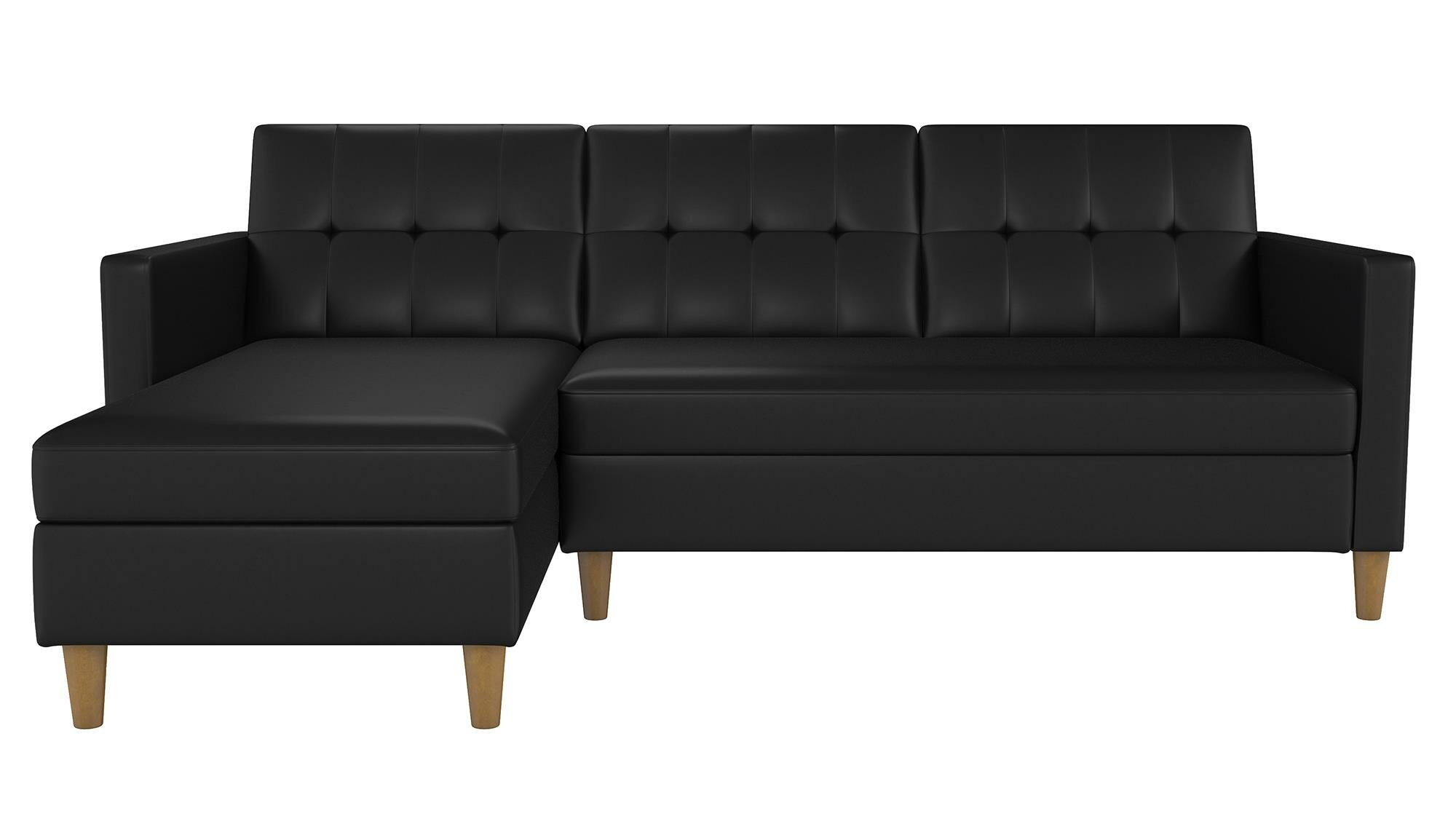 Picture of: Mid Century Upholstered Sectional Sofa Futon Couch With Reversible Chaise With Adjustable Back Sofa Bed Black Futon Sets