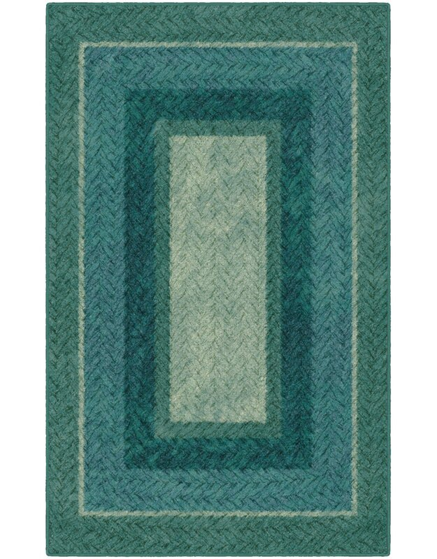 Winston Porter Sheridan Braided Printed Green/Blue Area Rug, Size: Rectangle 76 x 10