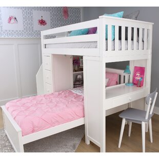 Harriet Bee Desilets Staircase Combo Twin over Twin Loft Bed