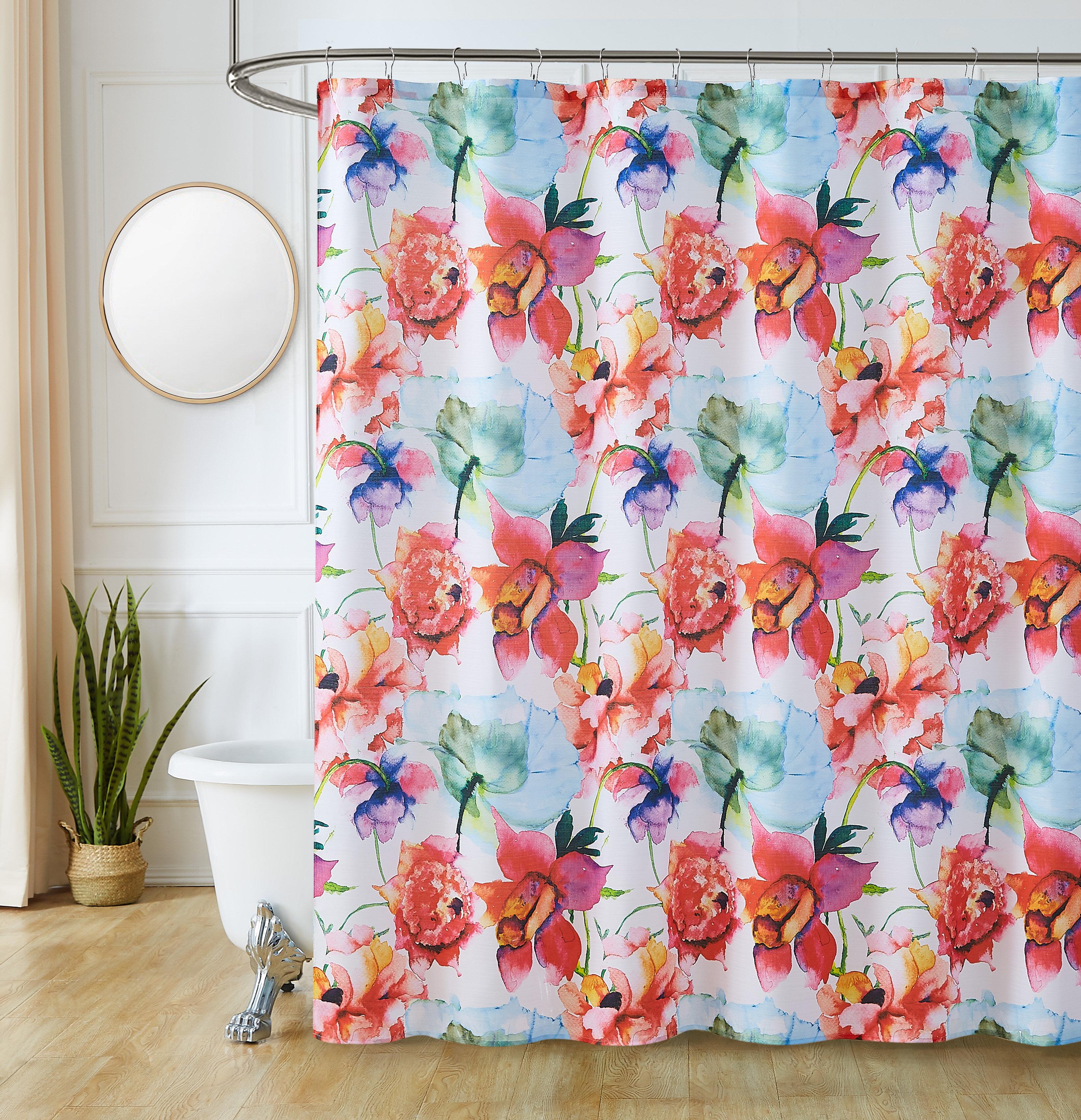 Red Barrel Studio Aletheia 13 Piece Floral Shower Curtain Set Hooks Wayfair