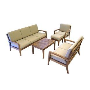 Ohana Depot Ohana 5 Piece Teak Sofa Set with Cushions