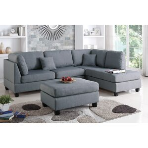 Hemphill Reversible Sectional  sc 1 st  Wayfair : dark gray leather sectional - Sectionals, Sofas & Couches