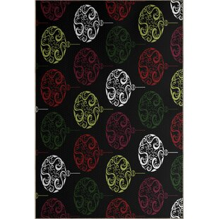 Black Painterly Bulbs Geometric Print Indoor/Outdoor Area Rug