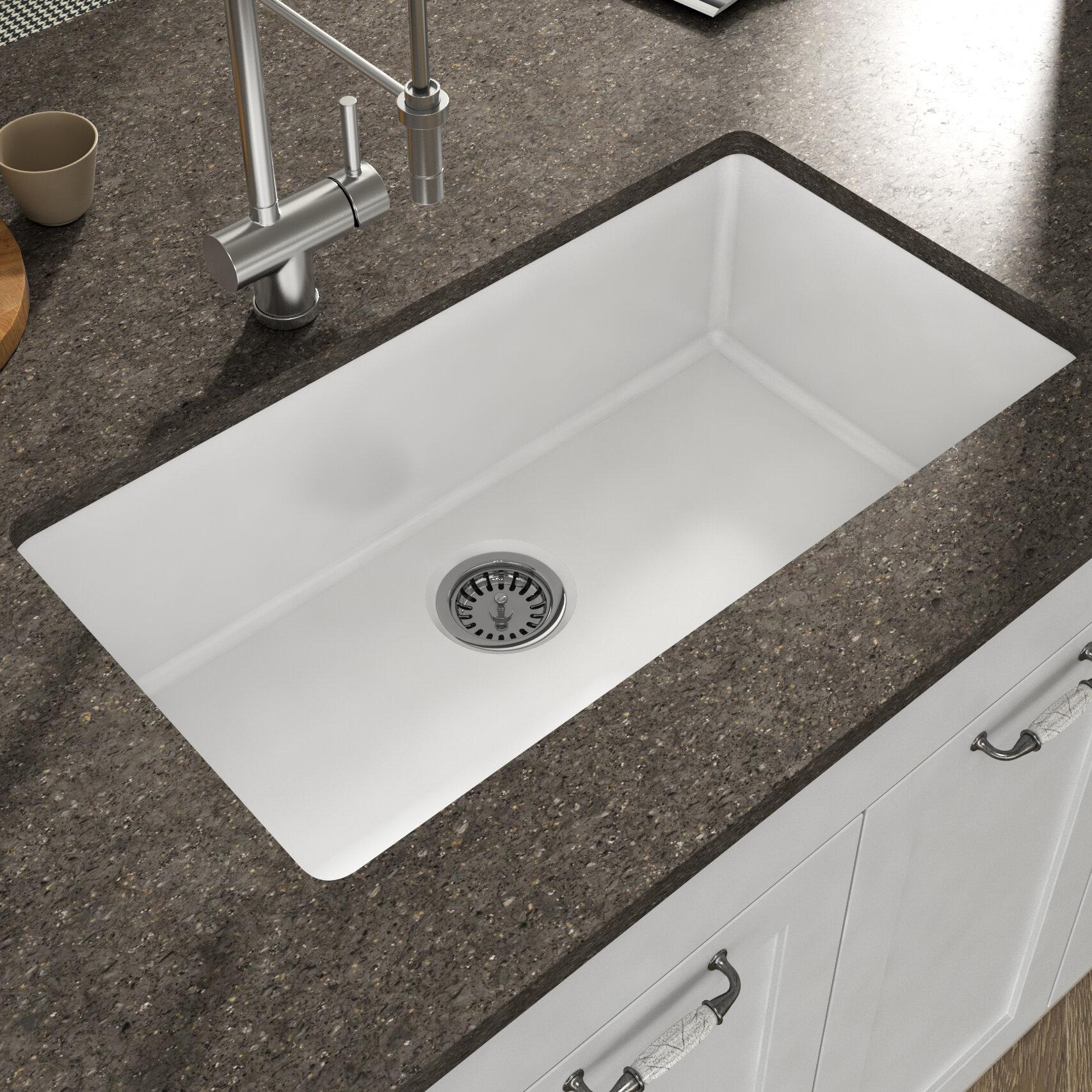 Yorkshire Fireclay 32 L X 18 W Undermount Kitchen Sink With Strainer In White