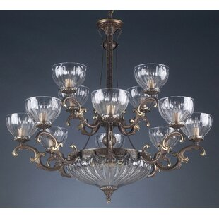 Warsaw 14-Light Shaded Chandelier by Classic Lighting